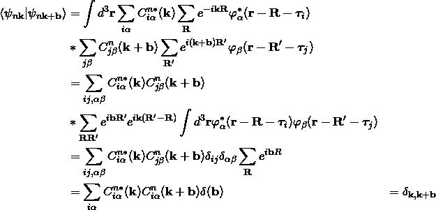 \begin{align*} \langle  \psi_{n\bold k} |\psi_{n\bold k+\bold b}\rangle&=\int d^3\bold r\sum_{i\alpha}C^{n*}_{i\alpha}(\bold k)\sum_{\bold R}e^{-i\bold k \bold R}\varphi_{\alpha}^*(\bold r-\bold R-\bm{\tau}_i) \\ &*\sum_{j\beta}C^{n}_{j\beta}(\bold k+\bold b)\sum_{\bold R'}e^{i(\bold k+\bold b) \bold R'}\varphi_{\beta}(\bold r-\bold R'-\bm{\tau}_j)\\ &= \sum_{ij,\alpha\beta} C^{n*}_{i\alpha}(\bold k)C^{n}_{j\beta}(\bold k+\bold b)\\ &*\sum_{\bold R \bold R'} e^{i\bold b \bold R'}e^{i\bold k (\bold R'-\bold R)}\int d^3\bold r\varphi_{\alpha}^*(\bold r-\bold R-\bm{\tau}_i)\varphi_{\beta}(\bold r-\bold R'-\bm{\tau}_j)\\ &= \sum_{ij,\alpha\beta} C^{n*}_{i\alpha}(\bold k)C^{n}_{j\beta}(\bold k+\bold b)\delta_{ij}\delta_{\alpha\beta}\sum_{\bold R}e^{i\bold b R}\\ &=\sum_{i\alpha} C^{n*}_{i\alpha}(\bold k)C^{n}_{i\alpha}(\bold k+\bold b)\delta({\bold b})、、 &=\delta_{\bold k, \bold k+\bold b} \end{align*}