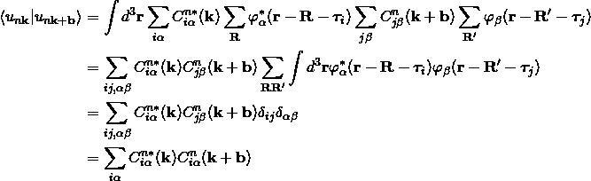 \begin{align*} \langle  u_{n\bold k} |u_{n\bold k+\bold b}\rangle&=\int d^3\bold r\sum_{i\alpha}C^{n*}_{i\alpha}(\bold k)\sum_{\bold R}\varphi_{\alpha}^*(\bold r-\bold R-\bm{\tau}_i) \sum_{j\beta}C^{n}_{j\beta}(\bold k+\bold b)\sum_{\bold R'}\varphi_{\beta}(\bold r-\bold R'-\bm{\tau}_j)\\ &= \sum_{ij,\alpha\beta} C^{n*}_{i\alpha}(\bold k)C^{n}_{j\beta}(\bold k+\bold b)\sum_{\bold R \bold R'}\int d^3\bold r\varphi_{\alpha}^*(\bold r-\bold R-\bm{\tau}_i)\varphi_{\beta}(\bold r-\bold R'-\bm{\tau}_j)\\ &= \sum_{ij,\alpha\beta} C^{n*}_{i\alpha}(\bold k)C^{n}_{j\beta}(\bold k+\bold b)\delta_{ij}\delta_{\alpha\beta}\\ &=\sum_{i\alpha} C^{n*}_{i\alpha}(\bold k)C^{n}_{i\alpha}(\bold k+\bold b) \end{align*}